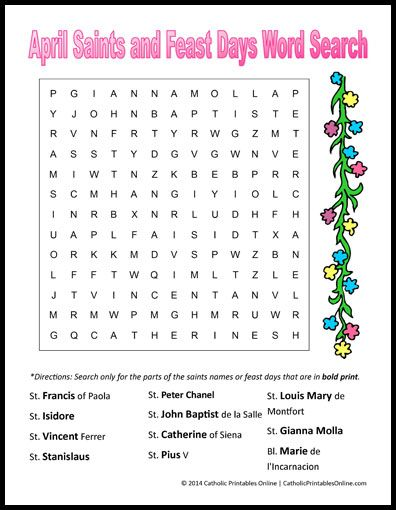 April Saints And Feast Days Word Search Printable