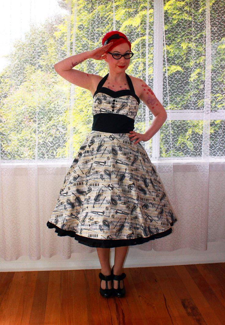 "Rockabilly Music Note  ""Fiona""  Dress with Halterneck, Button Detail, Black Trim and Full Skirt by PixiePocket on Etsy https://www.etsy.com/listing/115087186/rockabilly-music-note-fiona-dress-with"