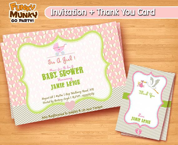 Pink Baby Shower Invitation  Baby Shower by funkymunkygoparty
