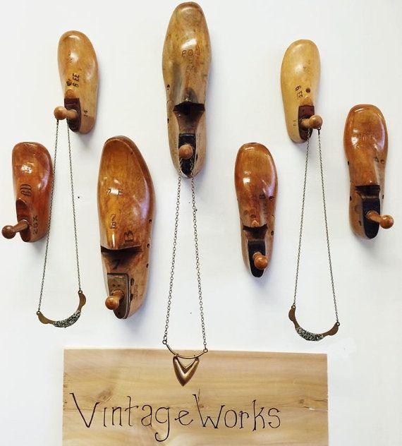 Vintage Wooden Shoe Form Wall Hook Industrial by Vintageworks
