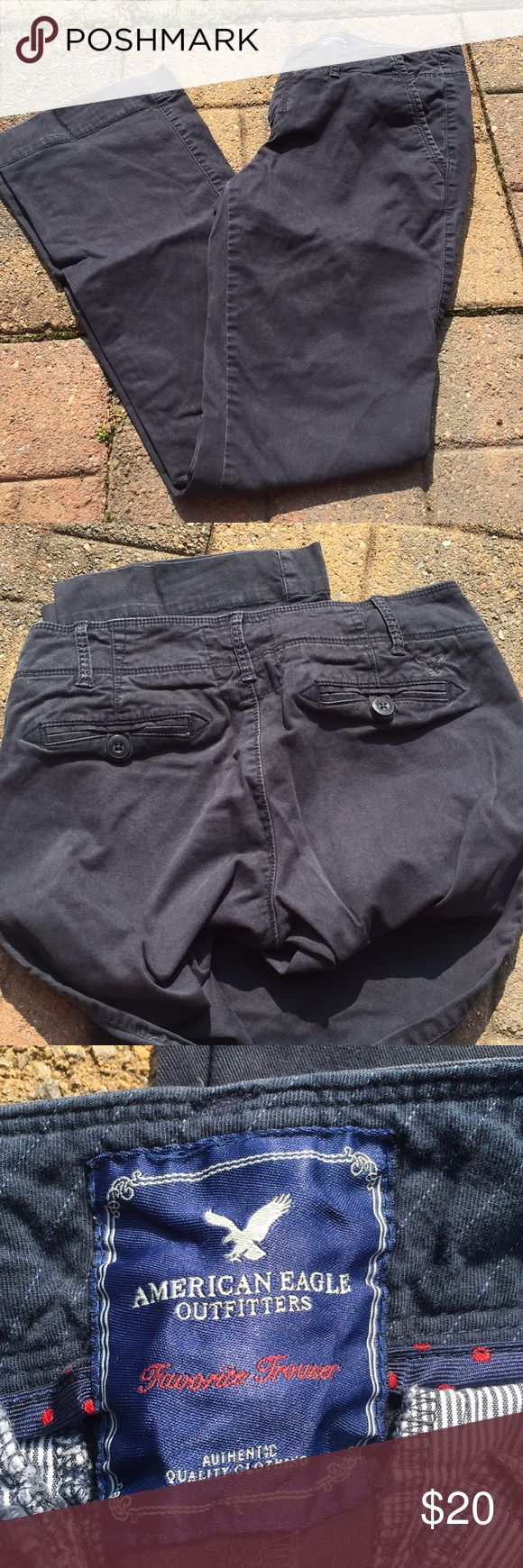 American Eagle blue khakis Preowned and in great condition. Size 4. Favorite trouser. Wide legged. American Eagle Outfitters Jeans Flare & Wide Leg
