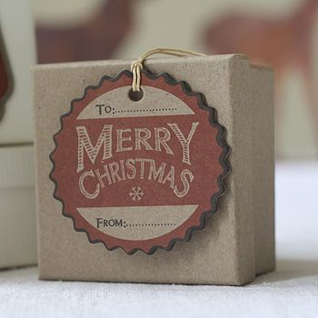 Six Red Card Christmas Gift Tags