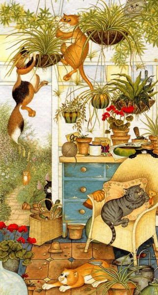 Many cats paintings. Conservatory Capers
