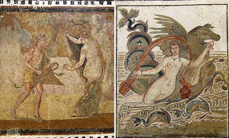 El djem central sections of mosaics enticing subjects for Mosaic painting meaning