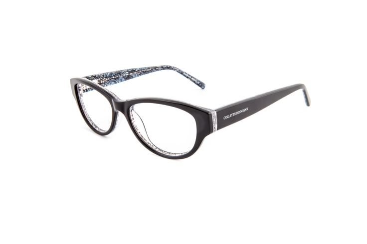 Decadence - 25634044. Two pairs from only $299, including standard single vision PENTAX lenses.    Robust, rounded frame in bold acetate and a darker colour palette with a printed pattern of Collette's floral lace on the inside and the Collette Dinnigan brandmark laser etched on the outside. This frame is a modern classic for a confident, stylish look – suited for oval or angular, smaller faces. A great combination of bold shape and feminine design.
