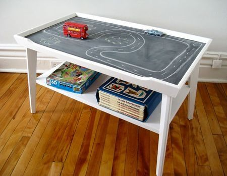 If you have an old coffee table or small table that you don't like the style of anymore and it is taking up room in the garage, this is a great DIY project that is sure to make it a useful piece of furniture in a toy room.