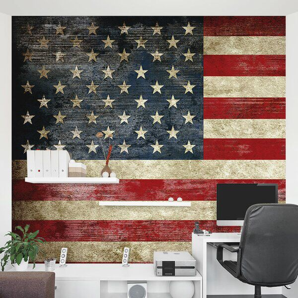 American Flag 8 X 144 3 Piece Wall Mural Set In 2020 American Flag Wall Decor Wall Decor Wall Murals