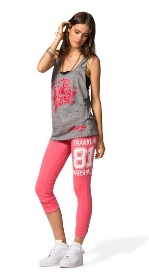 ADD A TOUCH OF STYLE TO YOUR SPORTY LOOK! BECOME MORE FEMININE JUST BY WEARING THIS LOOSE TUNIC TANK TOP 2IN1 OVER A PAIR OF SUPER SKINNY STRETCH JERSEY PANTS WITH VARSITY GRAPHIC. #franklinandmarshallofficial #franklinandmarshall #womenswear #ss15