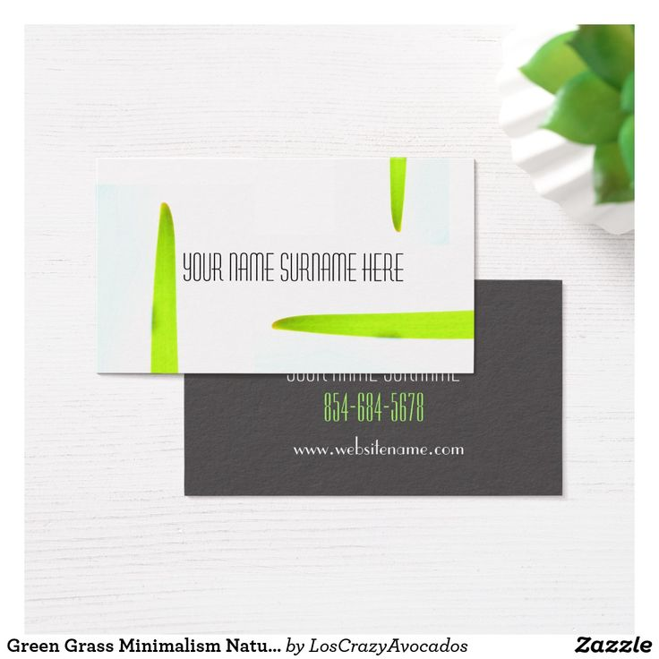 Green Grass Minimalism Nature Feel Business Card