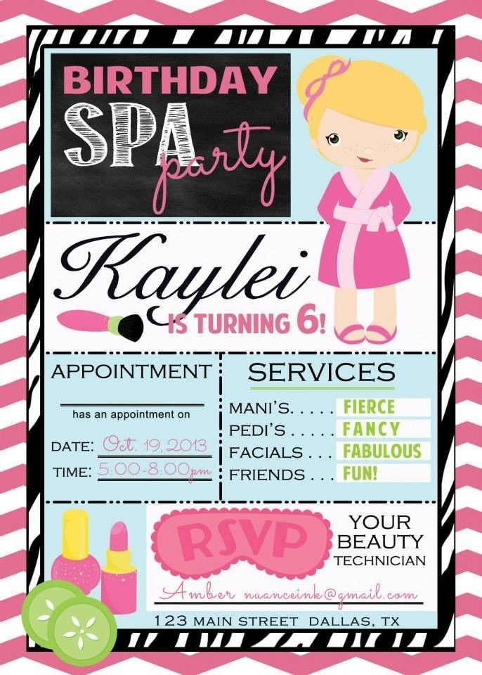 Free Printable spa Party Invitations Templates | Spa Salon Make Over Birthday Party Invitations Digital File You Print ...