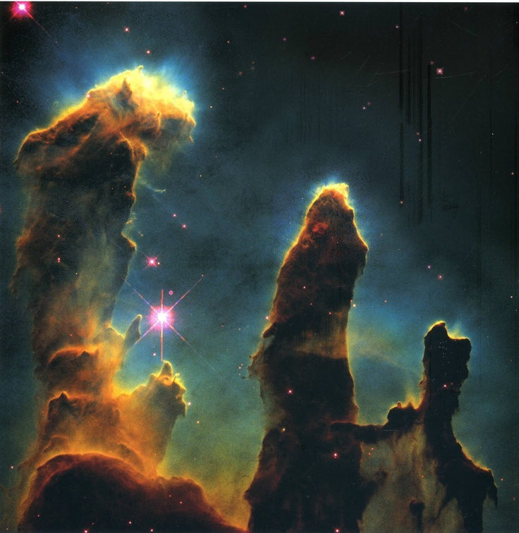"""The """"Pillars of Creation"""" photo of the Eagle Nebula. Taken by the Hubble Telescope on April 1, 1995."""