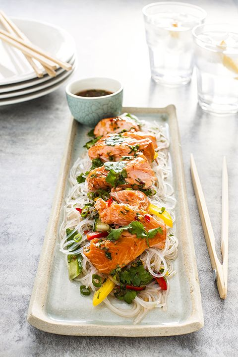 Salmon and Vermicelli Salad with Thai Dressing  http://www.regalsalmon.co.nz/recipes/salmon-and-vermicelli-salad-with-thai-dressing