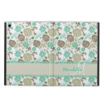 Lush pastel mint green beige roses on white name cover for iPad air