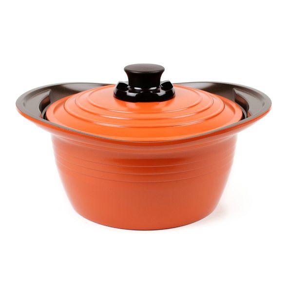 Roichen Die Cast Casserole -This lovable orange die-cast aluminium casserole cooks food more evenly in less time.
