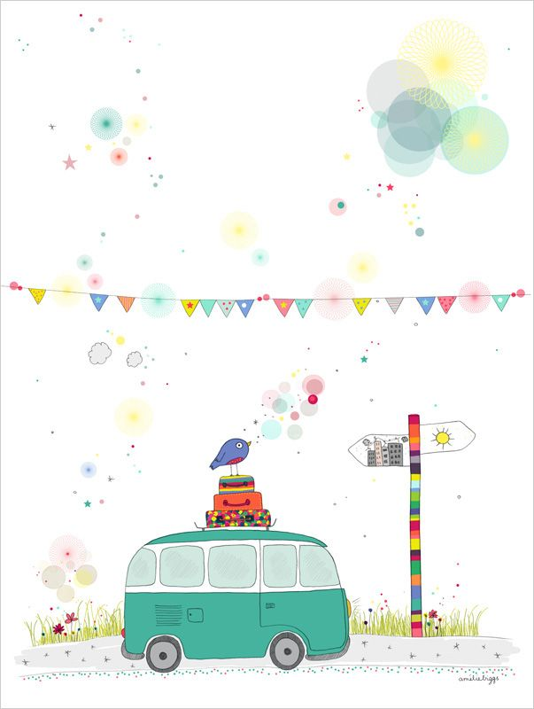 """Nationale 7"" - Amélie Biggs - LOVE everything about this:  the banner, the VW bus, the colorful flagpole, etc."