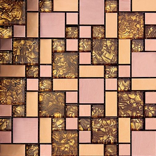 Glass Electroplating Gold Color With Gold Foil For Backsplash Decoration Mosaic Tile www.cpmosaic.com