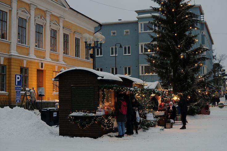 Christmas market in Mannerheim square, Kokkola, Finland