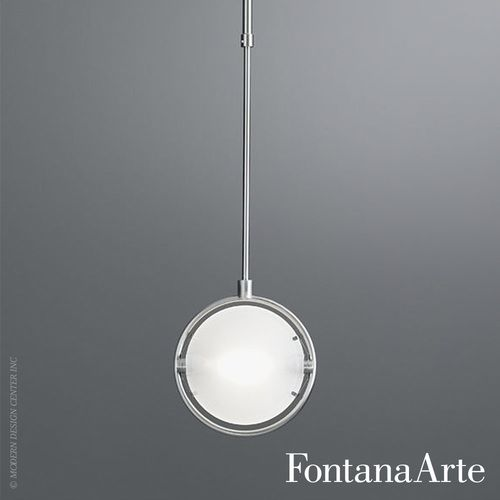 The FontanaArte Nobi Pendant Light is a Pendant Light with metal frame in chrome or satin nickel plating. The lamp fits an anodized aluminum reflector for indirect beam and pressed sandblasted tempered glass diffusers. $560