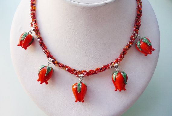 Lampwork Necklace-Orange Necklace-Tulip lampwork by omes37 on Etsy