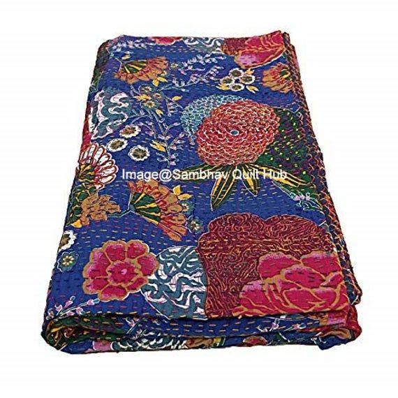 Hand Stitched Flower Print Queen Size kantha Quilt Bedspread Throw Ralli Blanket