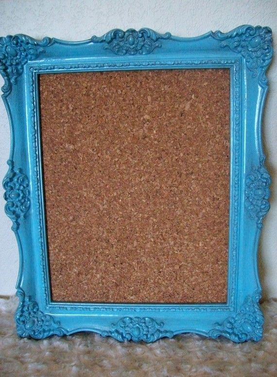 aqua framed, cork, recipe board.  Possibly fabric covered. #kitchen
