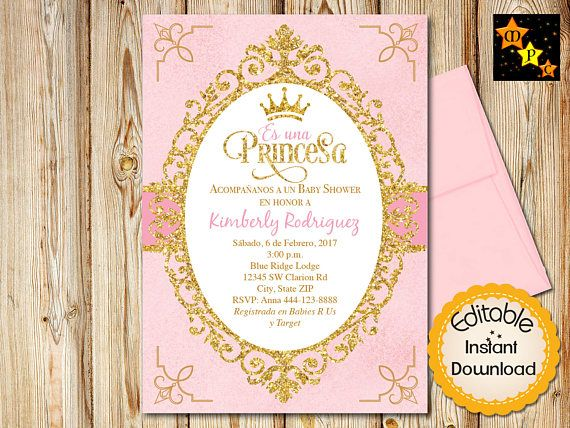 28 best spanish baby shower invitations images on pinterest spain spanish princess baby shower invitation girl pink filmwisefo