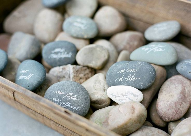 Hand-Painted Calligraphy Rocks for Escort Cards - Easton Events