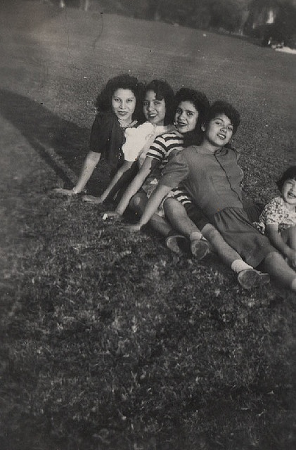 """East L A    According to the notes on the back this snapshot was made in Lincoln Park, East Los Angeles. The year is 1942. Lulu, Letty, Irene and Rita Castro appear. They may be sisters or cousins. """"Glied's Studio, Silver City, N. M."""" is stamped on the back indicating that the photographer and some or all of the subjects may have been visitors to LA."""