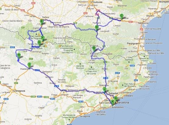 Pirenees: Barcelona-Andorra la Vella,-Carcassonne- Foix - Lourdes, - Gavarnie - Torla, -Mallos de Riglos - Huesca - Montserrat - Barcelona Airport