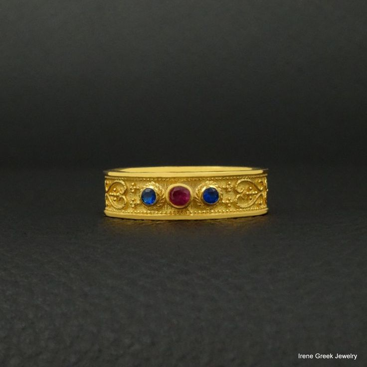 RUBY SAPPHIRE BYZANTINE STYLE 925 STERLING SILVER 22K GOLD PLATED GREEK RING #IreneGreekJewelry #Band
