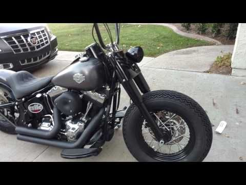 Custom Harley Softail Slim with Exile exhaust and Shotgun Shock - YouTube