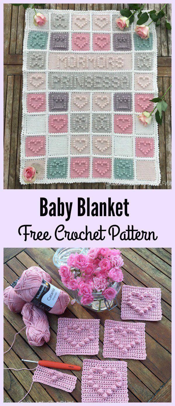 Heart Bubble Stitch Baby Blanket Free Crochet Pattern #Valentines