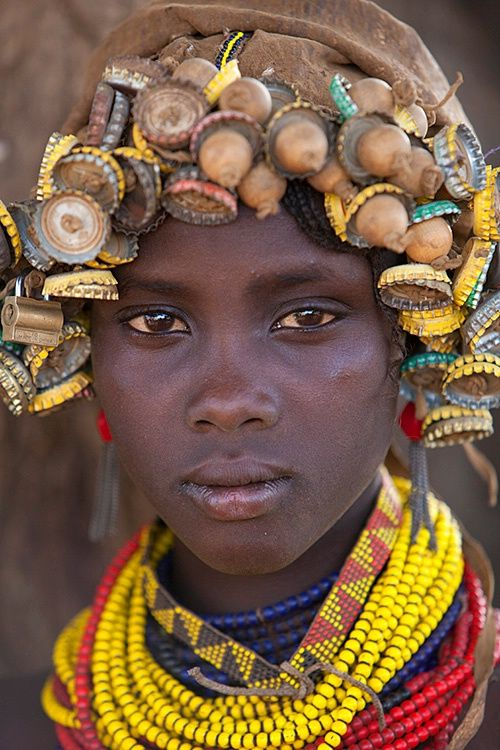 Africa | Young girl of the Dassanech tribe, Omo River Valley, Ethiopia | © Jim Zuckerman