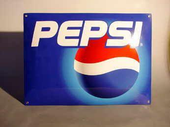 Pepsi Emailleschild neuzeitliches Pepsi Schild, Händlerexemplar Verkauf: alte Werbung und Reklameobjekte Emailleschilder Blechschilder Emailschilder Werbeschilder