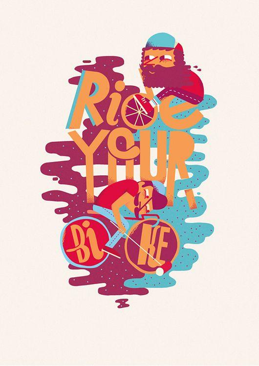 Typography & Illustrations by Jose Miguel Méndez: Design Inspiration, Bike, Méndez Cclnd, Jose Miguel, Typography Illustrations, Miguel Méndez, Miguel Mendez, Cclnd Illustrations, Design Blog