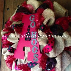 Arkansas Razorback Burlap & Decomesh Wreath - $62