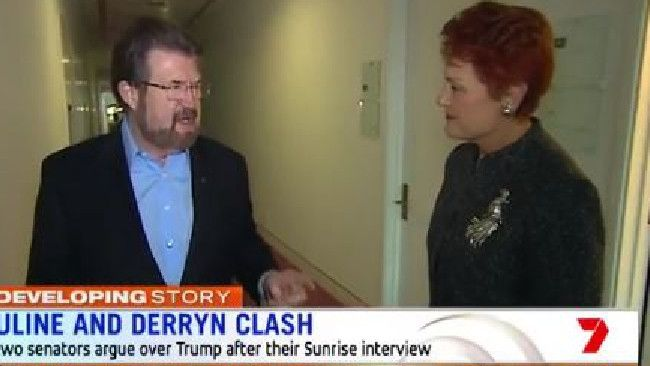 SENATE crossbenchers Pauline Hanson and Derryn Hinch have clashed on Sunrise while discussing Donald Trump's vulgar comments.