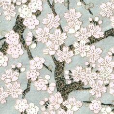 Papier Japonais Washi, sérigraphie de fleurs roses sur fond argent - Adeline Klam