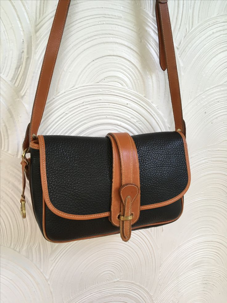 1980s Dooney & Bourke Black and Tan Equestrian Bag