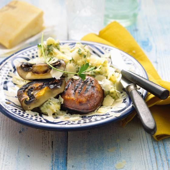 Portobello met knolselderij-aardappelpuree en truffelolie Productfoto ID Shot 560x560
