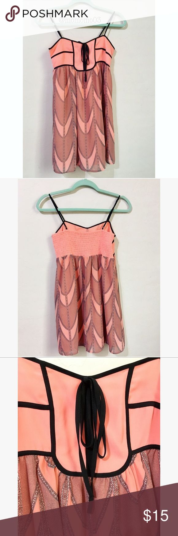"""Salmon Pink/Black Sundress *stretchy around chest                                           *adjustable strap                                                          *cute patters                                                           *perfect for summer🌞                                            *4 inches above my knee (my height is 5'2"""")                          *two layers. Not see through! Forever 21 Dresses Mini"""