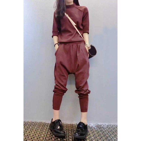 Chic Stand-Up Collar Long Sleeve Sweatshirt + Elastic Waist Pants Twinset
