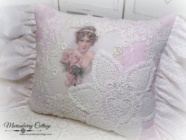 Romantic pink eyelet lace collage pillow