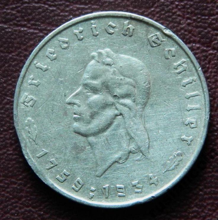 RARE 5 Марок 1759-1934F Шиллер Третий Рейх СЕРЕБРО