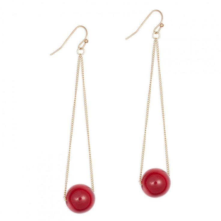 Boucles d'oreilles pendantes boule rouge                              …