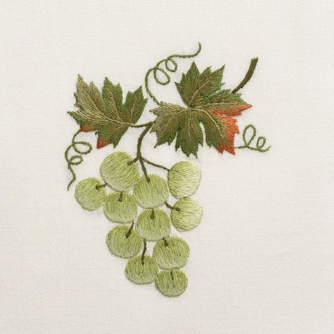 Grapes GreenHand Towel - Ivory Cotton – Henry Handwork