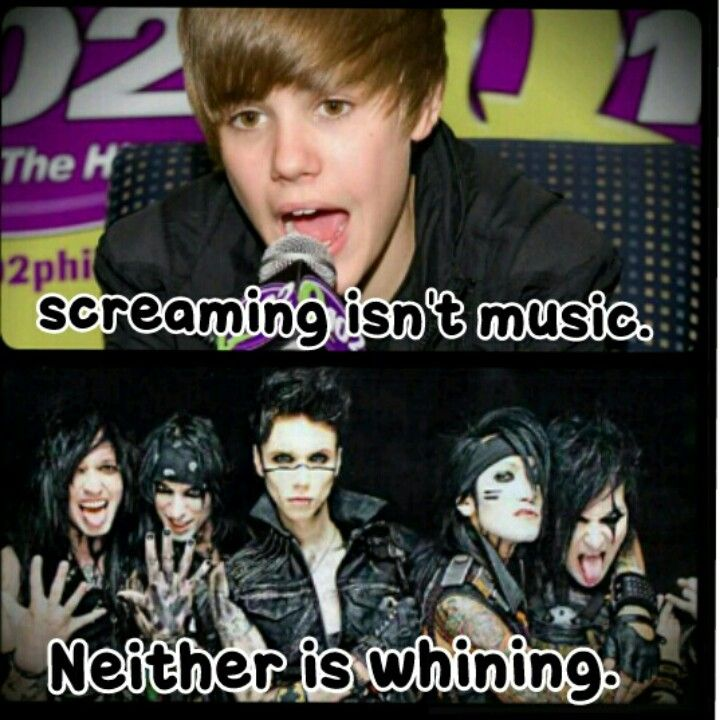 Justin Bieber & Black Veil Brides. This makes me so fucking mad that Justin said this. He's a complete dick who knows he's no where near as good as BVB so he has to put them down. He's a bully people. Not a hero