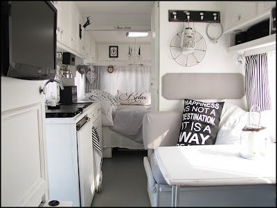 Home Sweet Motorhome.  Imagine this with wood floors and maybe wood or stainless countertops.