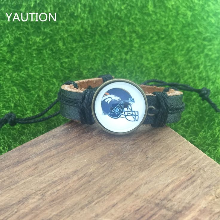 1Pcs Denver Broncos football NFL Cabochon Glass Charm Infinity Bracelets #Affiliate