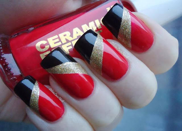 NYE Red Gold Black Tape Nail Art